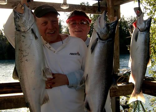 John & Linda Herrle Silver Salmon fishing on the Kenai River, Alaska