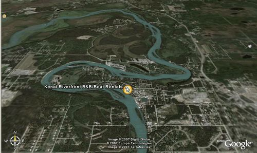 Kenai Riverfront Google Earth, Soldotna, Alaska on the Kenai River