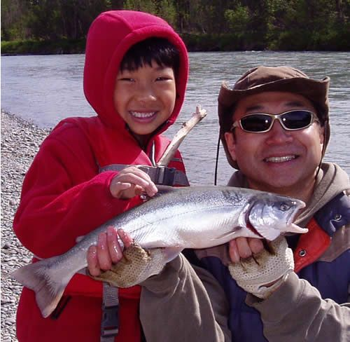 Masa & Nari with a nice Kenai River Dolly Varden on Father's Day 2007!